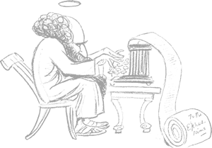 Cartoon of God typing from early 1900